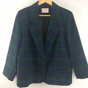 Pendleton Wool Blazer Petite Green Plaid Womens
